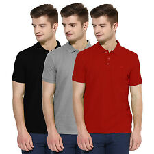 Polo Nation Men Solid  Cotton Polo T-Shirt Pack Of 3 (Red,Grey,Black)