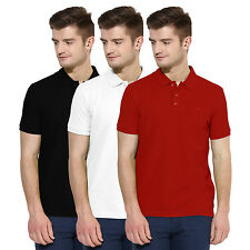 Polo Nation Men Solid  Cotton Polo T-Shirt Pack Of 3 (Red,White,Black)