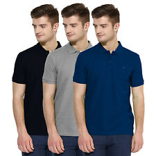 Polo Nation Men Solid  Cotton Polo T-Shirt Pack Of 3 (Blue,Grey,Navy Blue)