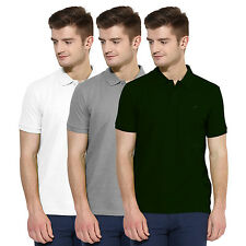 Polo Nation Men Solid  Cotton Polo T-Shirt Pack Of 3 (Green,Grey,White)