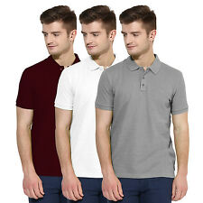 Polo Nation Men Solid  Cotton Polo T-Shirt Pack Of 3 (Grey,White,Maroon)