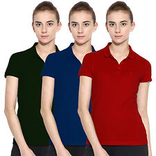 Polo Nation Women Solid Cotton Polo T-Shirt Pack Of 3  (Red,Blue,Green)