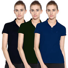 Polo Nation Women Solid Cotton Polo T-Shirt Pack Of 3  (Blue,Green,Navy Blue)