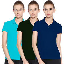 Polo Nation Women Solid Cotton Polo T-Shirt Pack Of 3  (Blue,Green,Torquoise)