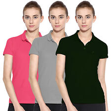 Polo Nation Women Solid Cotton Polo T-Shirt Pack Of 3 (Green,Grey,Pink)