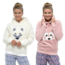 Womens Ladies Hooded Lounge Snuggle Top Animal Face Cute Soft Warm Fleece Night