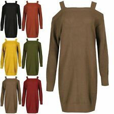 Ladies Chunky Knitted Womens Cold Shoulder Jumper Pullover Sweater Mini Dress