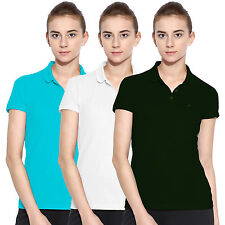 Polo Nation Women Solid Cotton Polo T-Shirt Pack Of 3 (Green,White,Turquoise)