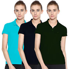 Polo Nation Women Solid Cotton Polo T-Shirt Pack of 3(Green,Navy Blue,Turquoise)