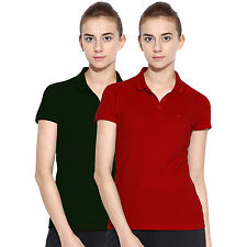 Polo Nation Women Solid Cotton Polo T-Shirt Pack of 2 (Red,Green)