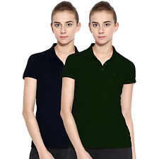 Polo Nation Women Solid Cotton Polo T-Shirt Pack of 2 (Green,Navy Blue)