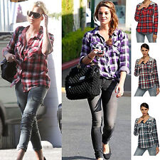 Women Check Flannel Plaid Loose Hooded Shirt Blouse Hoodies Single Breasted Top