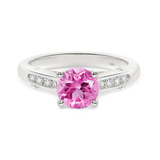 925 Sterling Silver Pink Sapphire  Round  Shape  Fashion  Ring  For  Woman's