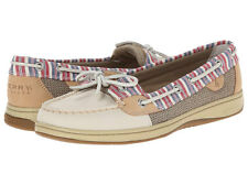 SPERRY TOP-SIDER women's ANGELFISH BOAT SHOE Leather Slip-On IVORY Stripe sz 9 M