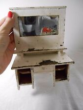 Antique Miniature Dolls House White Painted Wooden Dresser With Real Old Mirror