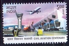 A94-India-2012-Civil Aviation-Control Tower, Aircraft, Terminal building-MNH