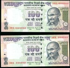 INDIA Rs.100/- FANCY/SOLID SL. NO. 999999 & 1000000,2015,SIGNED BY R R RAJAN,UNC
