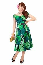 COLLECTIF VINTAGE GREEN PALM PRINT DOLORES DOLL DRESS SZ 8-22 1950S FLARED