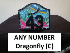 ANY NUMBER Dragonfly (C) Stained Glass Mosaic House Number Plate Sign Plaque