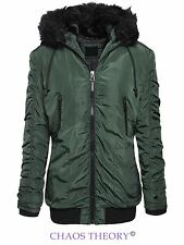 Brave Soul Womens Ladies Fur Hooded Zip Up Bomber Parka Coat Jacket