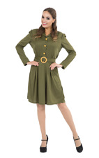Ladies 1940s World War Army Fancy Dress Costume 40s Wartime Outfit