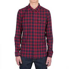 Volcom Men's Fulton Long Sleeve Flannel Shirt - AW16: Blood Red