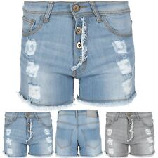 Womens Beach Summer Stretchy Distressed Jeans Shorts Button Cotton Hot Pants