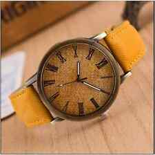 Retro Unisex Quartz Watch Antique Gold Faux Leather-Denim Look New 6  - UK Stock