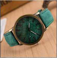 Retro Unisex Quartz Watch Antique Gold Faux Leather-Denim Look New 7 - UK Stock
