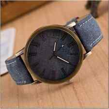 Retro Unisex Quartz Watch Antique Gold Faux Leather-Denim Look New 3 - UK Stock