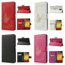 Laser Carving Butterfly Wallet Leather Case Flip Cover For Samsung Galaxy Note 3