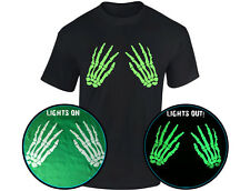 Skeleton Hands Front Glow In The Dark Halloween Mens T-Shirt (12 Colours)