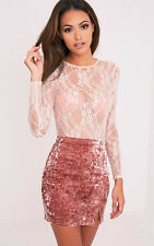 PrettyLittleThing Womens Sinead Dusty Pink Crushed Velvet Side Split Mini Skirt