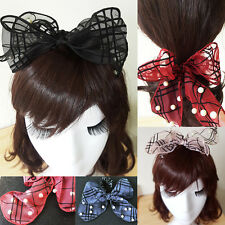 Women Check Chiffon Bowknot Scrunchie Bun Tie Hair Rope Band Ponytail Holder