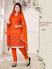 Churidar Salwar Kameez | Embroidered Chanderi Cotton Dress Material Unstitched