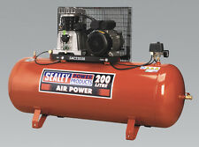 SEALEY TOOLS Compressor 200ltr Belt Drive 3hp with Cast Cylinders