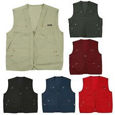 Mens Sleeveless Multi Pocket Zip Fishing Jacket Top Tool Vest Gilet Waistcoat