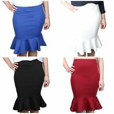 Womens Ladies Fishtail Midi Skirt, Slip On Stretchy Midi Pencil Skirt.