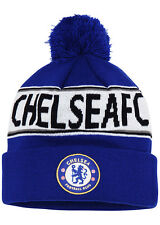 Official Chelsea FC Text Bobble Hat. Adults Blue Winter. Football Merchandise