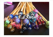 * 1 PAIR BEADED BAMBOO KNITTING NEEDLES, SIZE 3.25mm CHOOSE LENGTH/BEAD