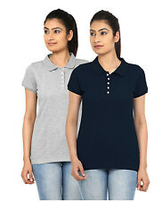 2 Combo Pack Women's Polo Collar Short Sleeve Tshirts-GSM 240 (Rs.699)