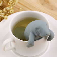 Green Silicone Manatee Diffuser Infuser Tea Leaf Strainer Herbal Filter Clean BY
