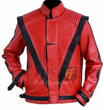 nbMichael Jackson Thriller Mens Real Red Leather Jacket