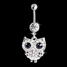 white rhinestone owl dangling pendant barbell navel belly stud body piercing jew