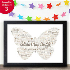 Personalised Birth Gifts Baby Girl Baby Boy Butterfly Word Art Gift Newborn Baby