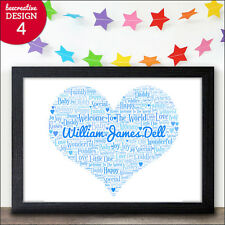 Baby Boy Gifts Newborn Boy Personalised Love Heart Print Gift Nursery Print