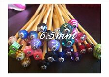 *1 PAIR BEADED BAMBOO KNITTING NEEDLES/HOOK SIZE 6.5mm CHOOSE LENGTH, SIZE, BEAD
