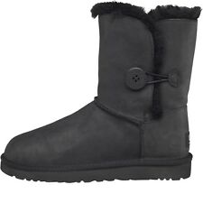 UGG Australia Womens Bailey Button Leather Boots Black ALL SIZES UK 3 4 5 6 7.5