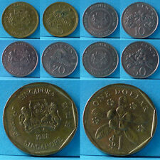 Singapore 5 Cents to $1 - 5 pieces 1988 km 50 to 54b