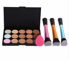 15 Concealer Palette Angled Brush Sponge Puff Makeup Contour Synthetic HBM049